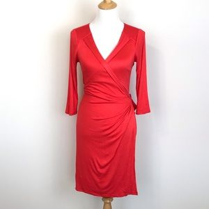 Ann Taylor Coral Orange Wrap Dress S C10